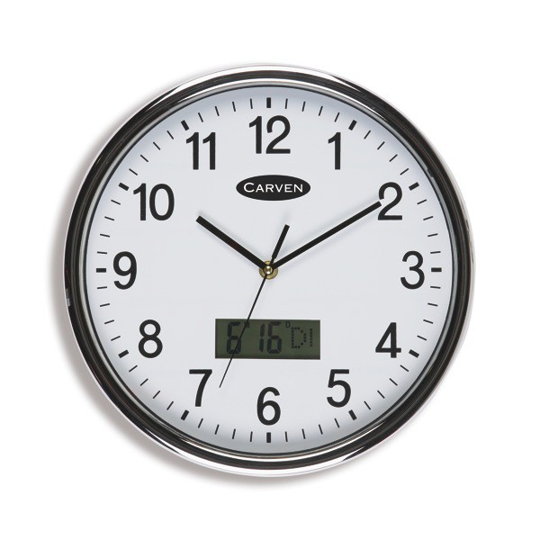 Carven Wall Clock 285mm Lcd Date/Time
